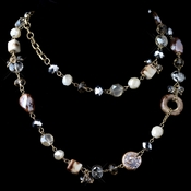 Gold Champagne Multi Faceted Cut Glass Fashion Necklace