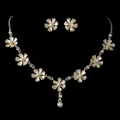 Gold Champagne Pearl Flower Jewelry Set 4838