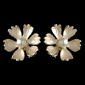 Gold Champagne Pearl Flower Stud Earrings 4838