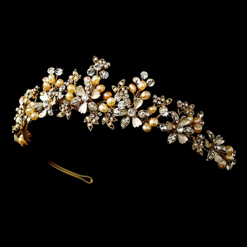 * Gold Champagne Rum Bridal Pearl Wedding Tiara HP 5483