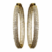 Gold Clear 3 Row CZ Crystal Pave Hoop Earrings