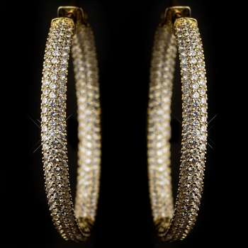 Gold Clear 3 Row CZ Crystal Pave Hoop Earrings 9727