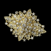 Gold Clear Crystal Flower Bridal Brooch 14
