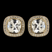 Gold Clear Cushnet CZ Crystal Stud earrings 9720
