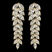Gold Clear CZ Crystal Chevron Dangle Earrings 9397