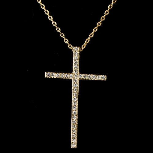 Gold Clear CZ Crystal Cross Pendent Necklace