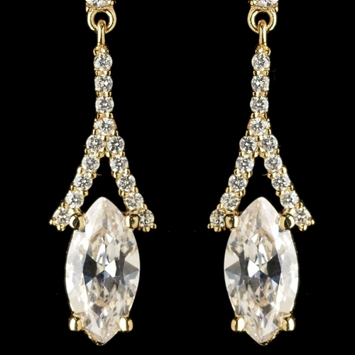 Gold Clear CZ Crystal Dangle Earrings 9399