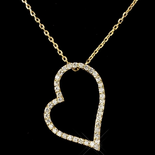 Gold Clear CZ Crystal Heart Pendent Necklace