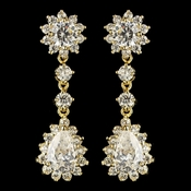 Gold Clear CZ Crystal Kate Middleton Inspired Dangle Earrings 5560