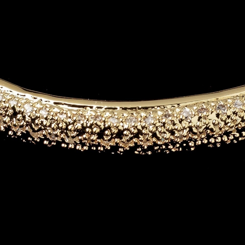 Gold Clear CZ Crystal Pave Bangle Bracelet 9748