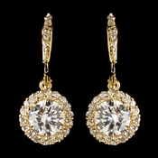 Gold Clear CZ Crystal Pave Circle Drop Leverback Earrings 8582