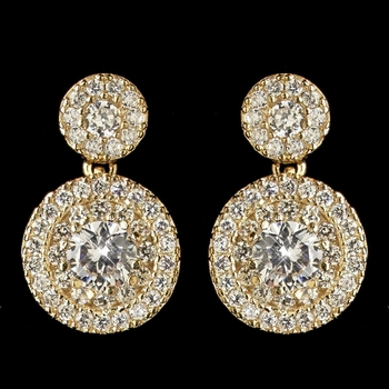 Gold Clear CZ Crystal Petite Pave Solitaire Double Drop Earrings 7406