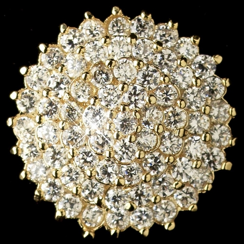 Gold Clear CZ Crystal Round Stud Earrings 9966
