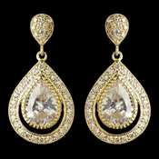 Gold Clear CZ Crystal Teardrop Drop Earrings 7427