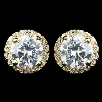 Gold Clear CZ Rondelle Round Stud Earrings 2288