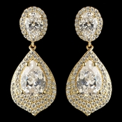 Gold Clear CZ Teardrop Crystal Drop Earrings 7412