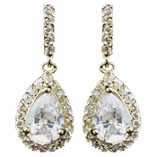 Gold Clear CZ Teardrop Earrings 8634