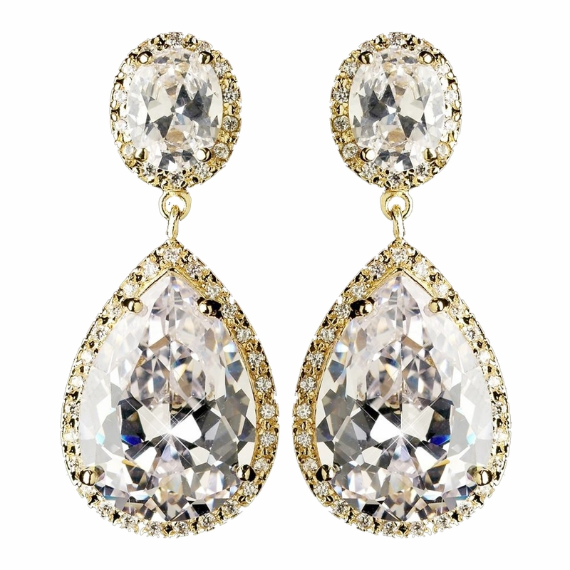 Gold Clear Large Teardrop Cz Crystal Drop Earrings 9737