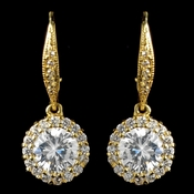Gold Clear Leverback CZ Drop Earrings 8582