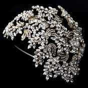 Gold Clear Marquise Rhinestone Wired Deco Side Accented Headband