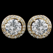 Gold Clear Mini Pave Round CZ Stud Earrings 8845