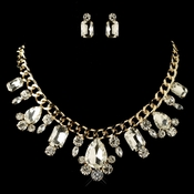 Gold Clear Multi Cut Rhinestone Chain Jewelry Set 82049
