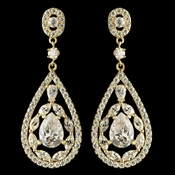 Gold Clear Multi Cut Teardrop CZ Crystal Chandelier Earrings 7769