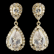 Gold Clear Oval & Teardrop CZ Crystal Drop Earrings 7761