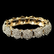 Gold Clear Pave Circle Rhinestone Stretch Bracelet 82020