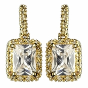 Gold Clear Radiant Emerald Cut CZ Crystal Drop Earrings 9744