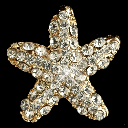 Gold Clear Rhinestone Beach Starfish Stud Earrings 3815