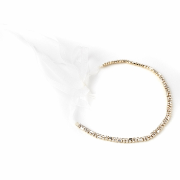 Gold Clear Rhinestone Bridal Wedding Ribbon Headband 2722