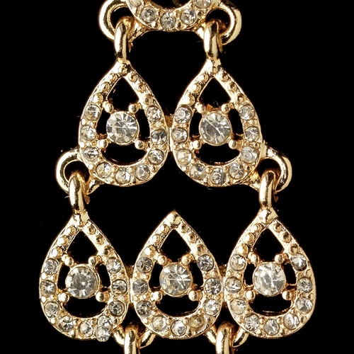 Gold Clear Rhinestone Chandelier Earrings 389