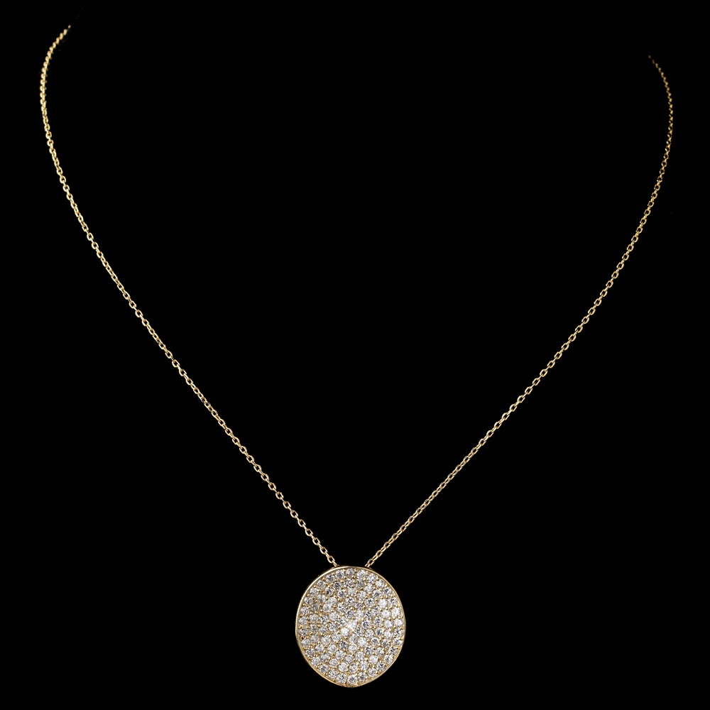 Gold clear rhinestone circle pendant necklace 6042 aloadofball Image collections