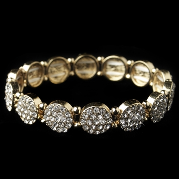 Gold Clear Rhinestone Circle Stretch Bracelet