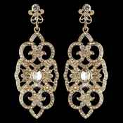Gold Clear Rhinestone Deco Marquise Drop Earrings 3850