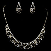 Gold Clear Rhinestone Drape Jewelry Set