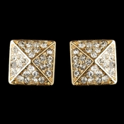 Gold Clear Rhinestone Egyptian Inspired Square Earrings 9625