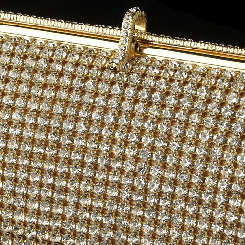 Gold Clear Rhinestone Handbag Evening Bag 337
