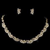 Gold Clear Rhinestone Jewelry Set