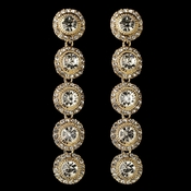 Gold Clear Rhinestone Pave Circle Dangle  Earrings 82022