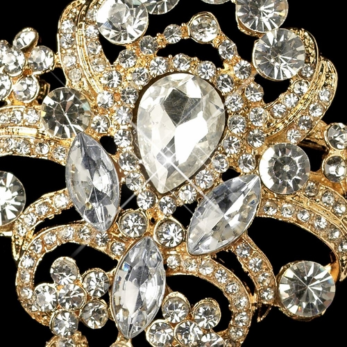 Gold Clear Rhinestone Vintage dangle Brooch 923 * Discontinued *