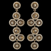 Gold Clear Rhinestone Retro Circle Wheel Dangle Earrings 82017