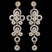 Gold Clear Rhinestone Round Circle Dangle Earrings 9892