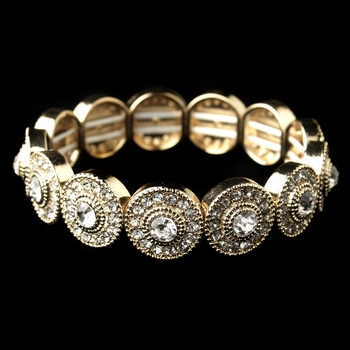 Gold Clear Rhinestone Stretch Bracelet 292