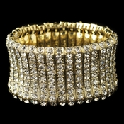 Gold Clear Rhinestone Stretch Bracelet 82023