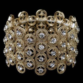 Gold Clear Rhinestone Stretch Bracelet 8704