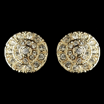 Gold Clear Rhinestone Stud Earrings 82057