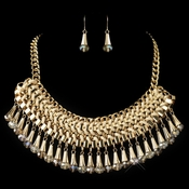Gold Clear Rondelle Crystal & Ivory Leather Fashion Jewelry Set