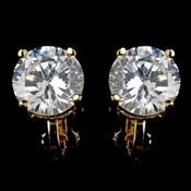 Gold Clear Round CZ Clip On Earrings